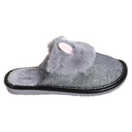 Bona Pantofole glitterate con danni grigio