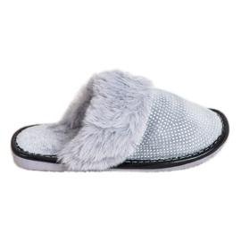 Bona Comode pantofole con pelliccia grigio