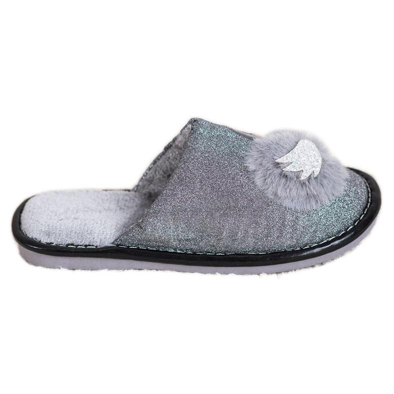 Bona Pantofole alla moda con applicazione grigio