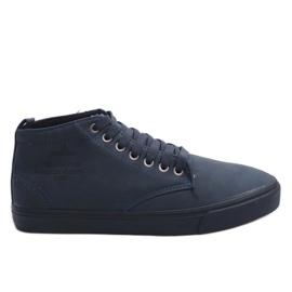 Sneakers alte alla moda Y007 blu navy marina