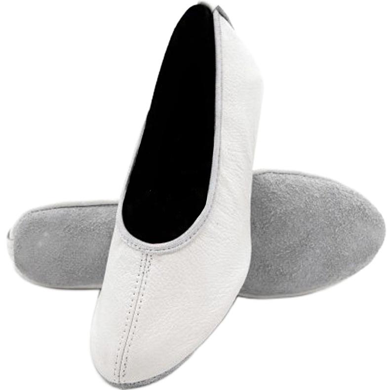 Ballerine ginniche Antares - pelle, bianche bianco ecru