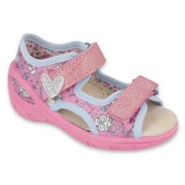 Scarpe per bambini Befado pu 065X147 rosa argento grigio