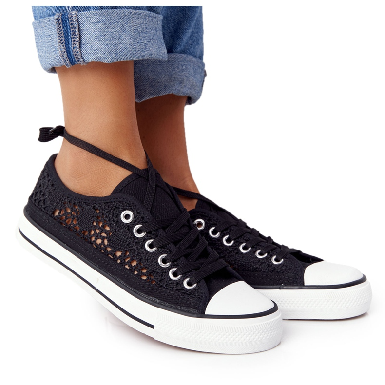 FB2 Sneakers Candice in pizzo nero da donna