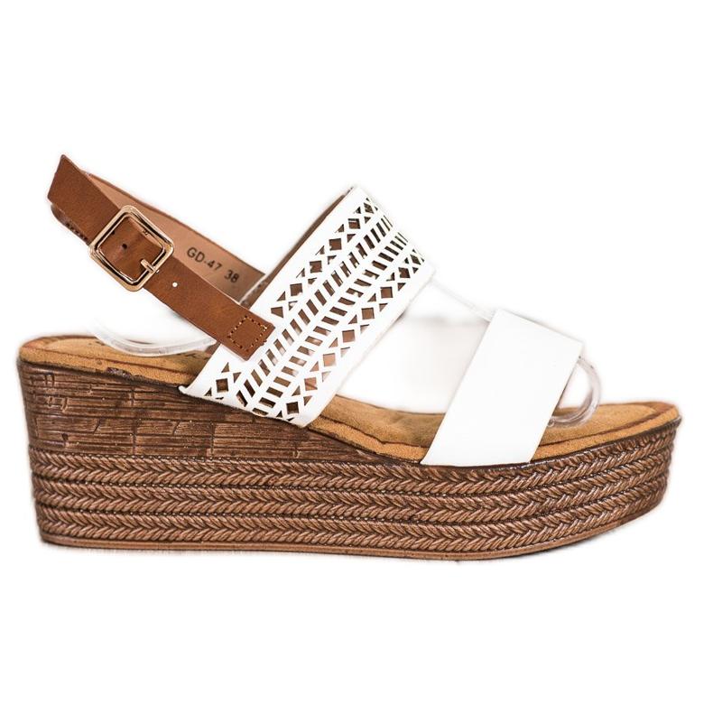 S. BARSKI Sandali bianchi sulla zeppa S.BARSKI bianco marrone