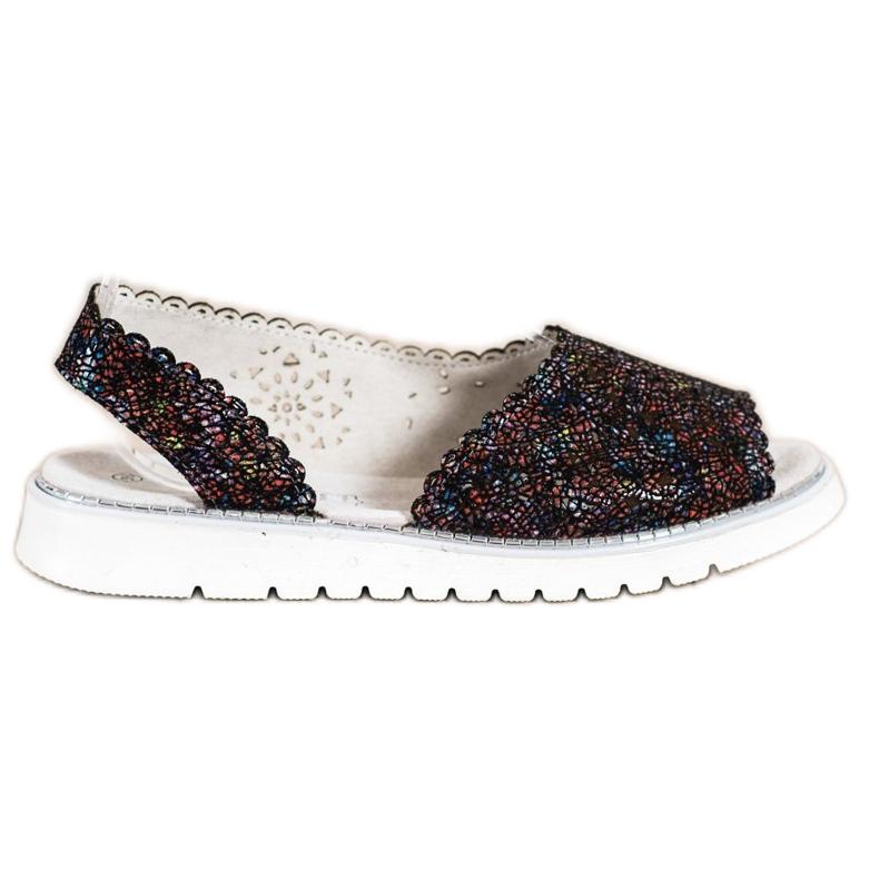 SHELOVET Comodi sandali in pelle nero multicolore