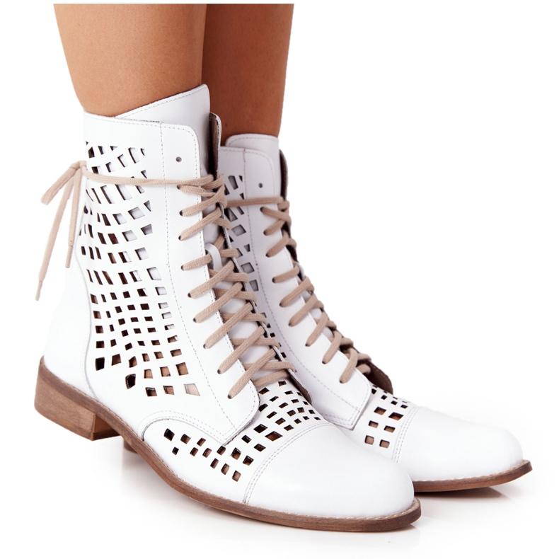 Stivali in pelle traforata Nicole 2627 White bianco