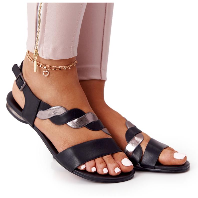 Sandali in pelle Vinceza 21-17117 neri e argento nero