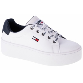 Tommy Hilfiger Iconic Leather Flatform scarpe in EN0EN01113-YBR bianco marina