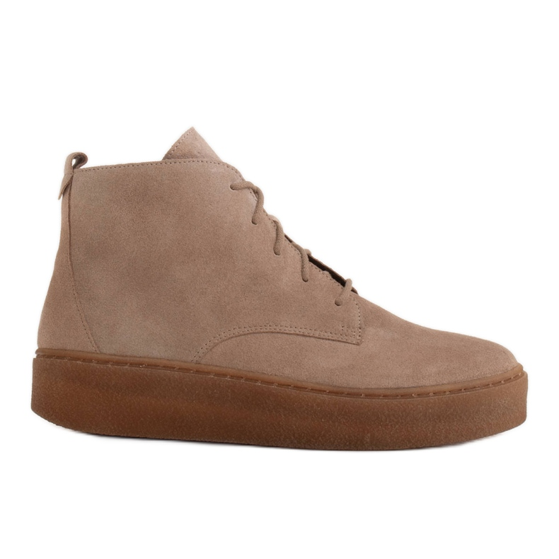 Marco Shoes Stivali bassi stringati realizzati in morbida pelle beige