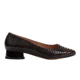 Marco Shoes Ballerine in pelle di serpente con tacco tondo nero