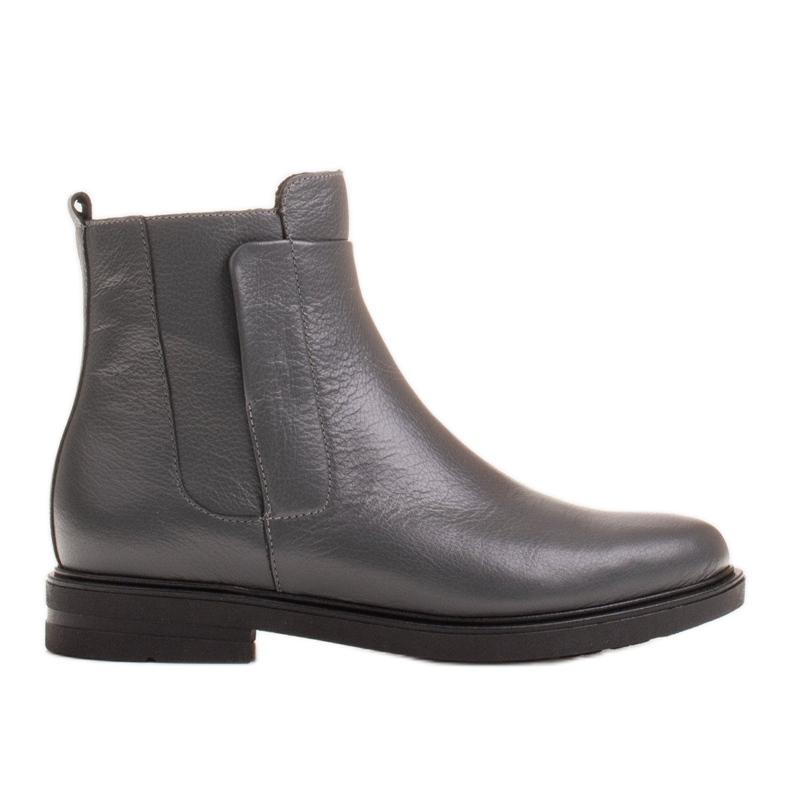 Marco Shoes Stivali leggeri isolati con fondo piatto in pelle naturale grigio