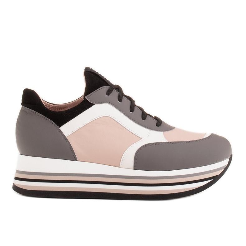Marco Shoes Sneakers leggere su una suola spessa in pelle naturale grigio
