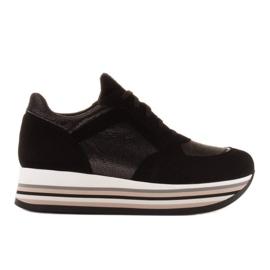 Marco Shoes Sneakers leggere su una suola spessa in pelle naturale nero