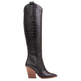 Marco Shoes Stivali alti da donna stivali da cowboy, fantasia cocco nero
