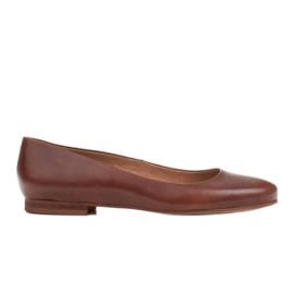 Marco Shoes Ballerine in pelle fiore marrone, lucidate a mano
