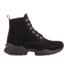 Marco Shoes Stivali sportivi da donna in nabuk con inserti rossi nero