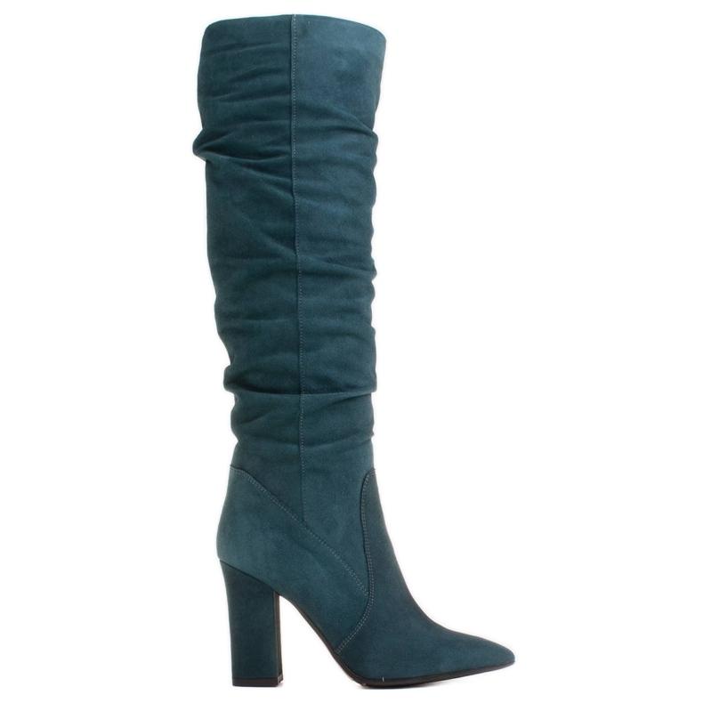 Marco Shoes Stivali verdi alti e stropicciati in camoscio naturale natural verde