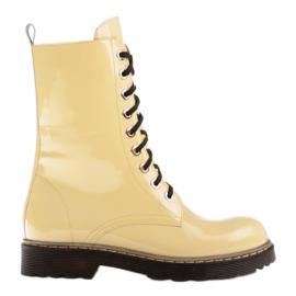 Marco Shoes Stivaletti alti, stivali legati su una suola traslucida giallo
