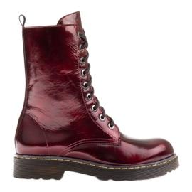Marco Shoes Stivaletti alti, stivali legati su una suola traslucida rosso