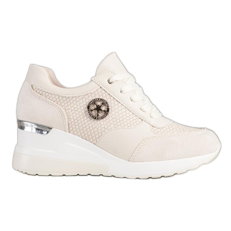 SHELOVET Sneakers con zeppa leggera beige