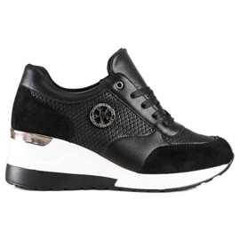 SHELOVET Sneakers con zeppa leggera nero