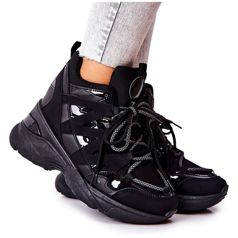 POTOCKI Scarpe sportive nere con zeppa Hesane nero
