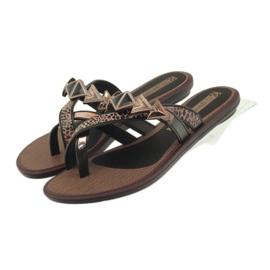 Ipanema marrone Infradito scarpe da donna con pietre Grendha
