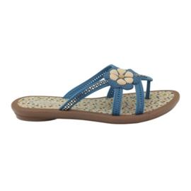 Rider blu Infradito scarpe per bambini con un fiore per l'acqua Grendha