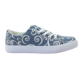 American Club Sneakers in denim con broccato americano blu