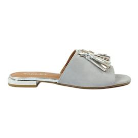 Pantofole con frange Badura 5133 grigio