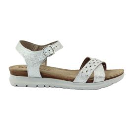 Grigio Intarsio sandali Inblu 038 argento
