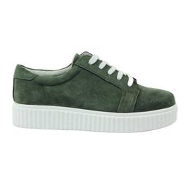 Scarpe in pelle creepersy Filippo 036 verde