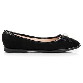 Ideal Shoes Ballerine eleganti in pelle scamosciata nero