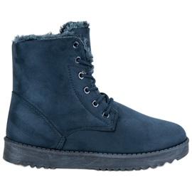 Forever Folie blu Calde scarpe in pelle scamosciata