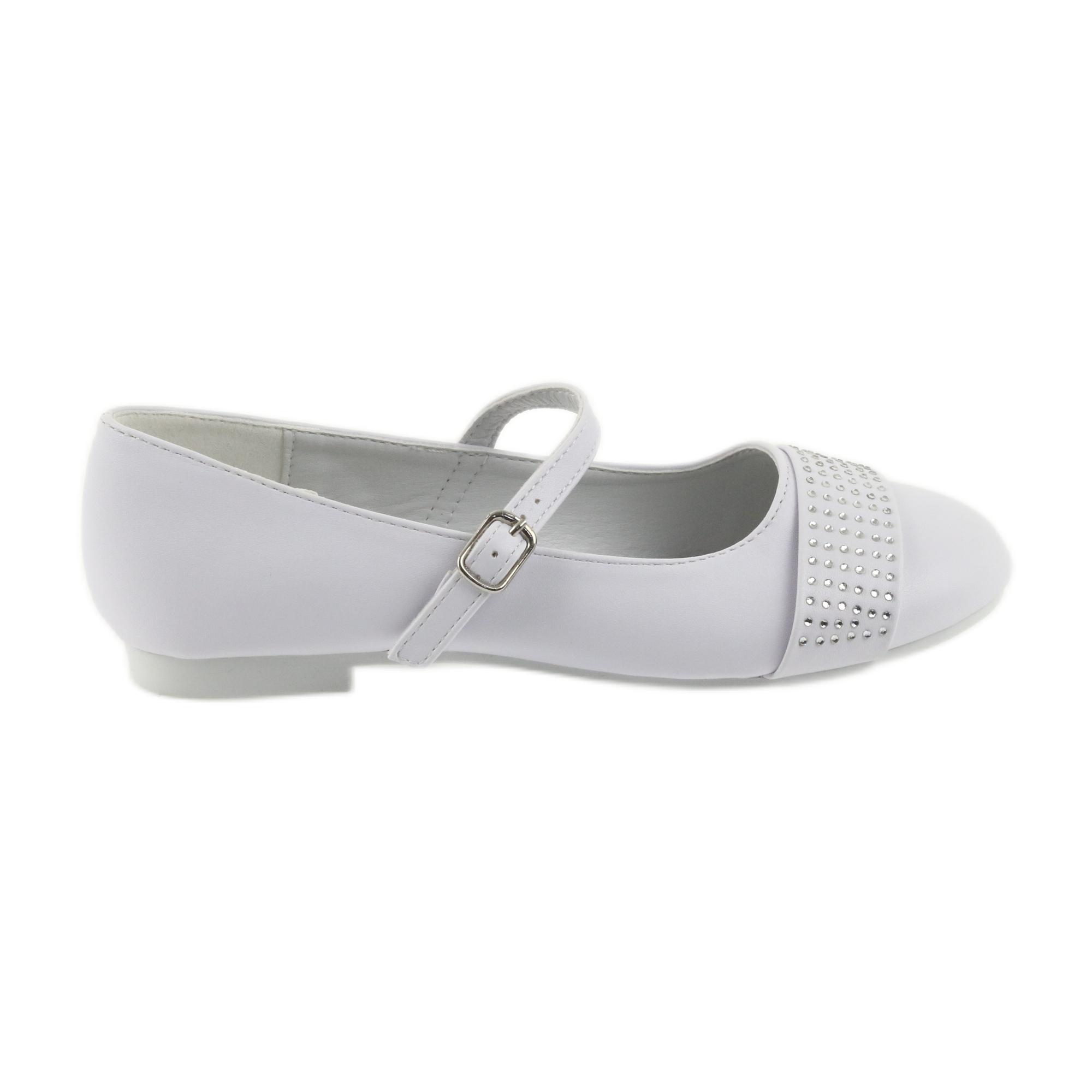 Pompe scarpe per bambini Comunione Ballerine strass American Club 11/19 bianco