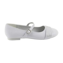 Bianco Pompe scarpe per bambini Comunione Ballerine strass American Club 11/19