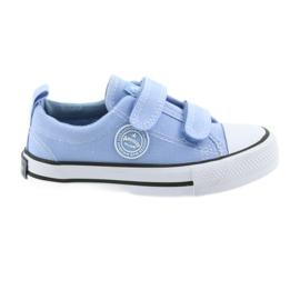 Sneakers in velcro American Club LH50 blu per bambini