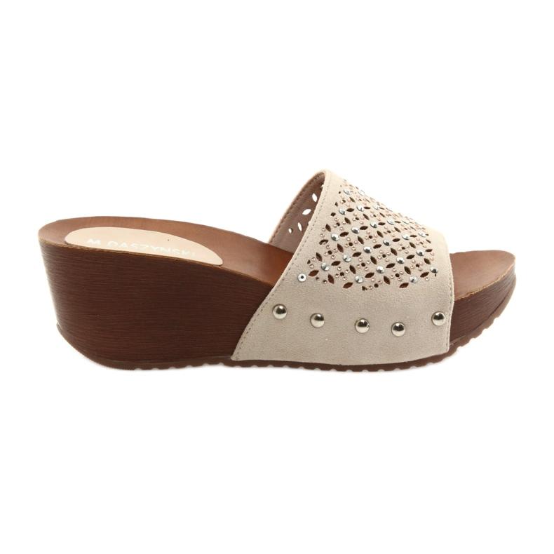 Pantofole con zeppa Daszyński SA144-6 beige con zirconi