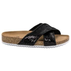 Kylie Pantofole nere con paillettes nero