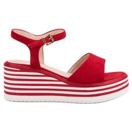 Vinceza Comodi sandali con zeppa rosso