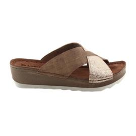 Pantofole marrone / oro KOMFORT INBLU GX06