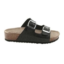 Pantofole da donna nere Inblu NM013 con riflessi argentati nero