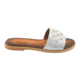 Pantofole da donna Daszyński 1837 perle grigio