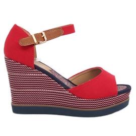 Sandali con zeppa rosso 9079 Rosso
