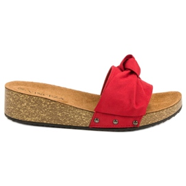 Pantofole in pelle scamosciata VINCEZA rosso