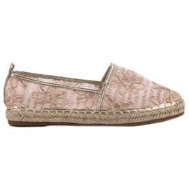 Lucky Shoes rosa Espadrillas di pizzo con fiori