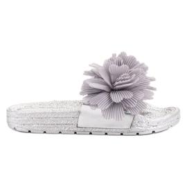 Seastar Pantofole grigie con fiori grigio