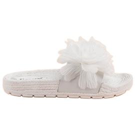 Seastar Pantofole bianche con fiori bianco