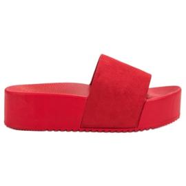 Anesia Paris rosso Pantofole in pelle scamosciata sulla piattaforma