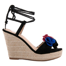 Seastar nero Tied Sandals on Wedge